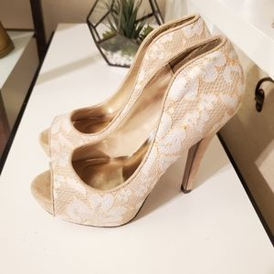 Shi By Journey's Nude Lace Peeptoe Heels
